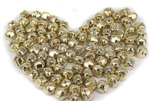 100 Gold Plated Jingle Bells Christmas 15mm Beads