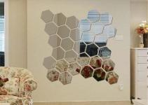 12pcs Modern Mirror Geometric Hexagon Acrylic Wall