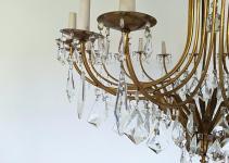 1950s Pendant Chandelier Giltbronze Italian Designer