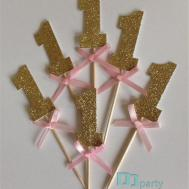 20pcs Custom Number Gold Glitter Cupcake Toppers Pink