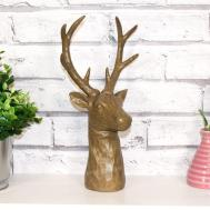 29cm Wood Effect Deer Stag Ornament Figurine Scuplture