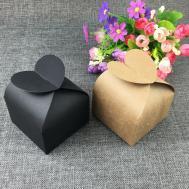 500pcs Brown Kraft Gift Boxes Paper Heart Shaps Box Blank