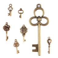 70pcs Antique Vintage Bronze Skeleton Key Charms Set Diy
