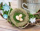 7cm Brown Straw Bird Nest Wire Hook Easter