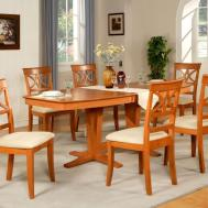 7pc Dining Room Set Table Wood Seat Chairs Light