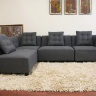 Alcoa Gray Fabric Modular Modern Sectional Sofa Interior