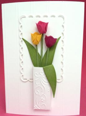 All Occasion Tulips Vase Card Handmade Birthday