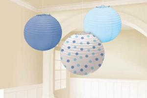 Amscan Blue Baby Shower Paper Chinese Lanterns Party