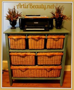 Art Beauty Wicker Storage Basket Dresser Make Over