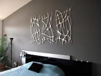 Art Nouveau Web Trio Brushed Aluminum Wall Sculpture