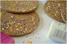 Arty Getaway Diy Cork Coasters Splashed Colors