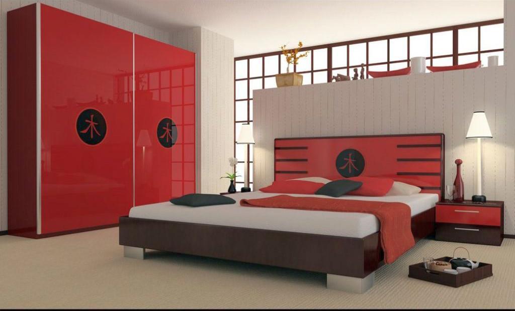 asian inspired red black white bedroom