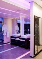 Awesome Purple Led Lighting Bathroom Design Paired