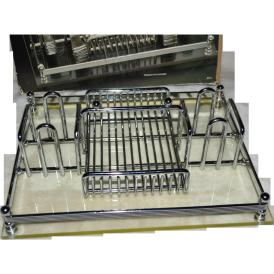 Barclay Geneve Silver Chrome Lucite Flatware Caddy