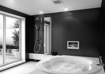 Bathroom Black Tile Floor Decorations