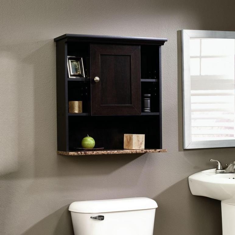 Bathroom Wall Cabinet Cherry Mount Shelf Storage