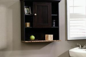 Bathroom Wall Cabinet Cherry Mount Shelf Storage
