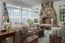 Beach Inspired Living Room Beige Sofas Stone