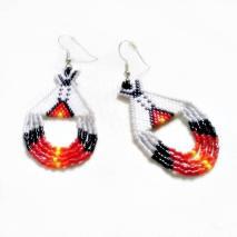 Beaded Boho Earrings Gray Tipi Tribal