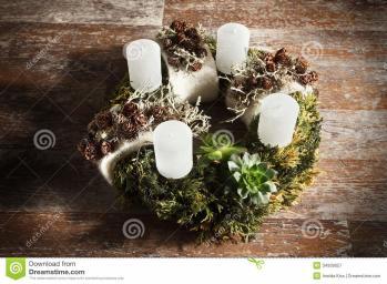 Beautiful Modern Homemade Advent Wreath Stock