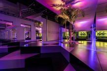 Bedroom Purple Headboard Bench White Soft Carpet Flooring