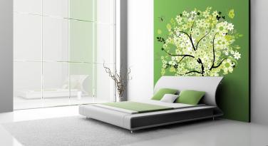 Bedroom Warm Green Colors Terracotta Tile Throws Lamp Cork