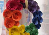 Bee San Diy Rainbow Coloured Paper Rose Wreath