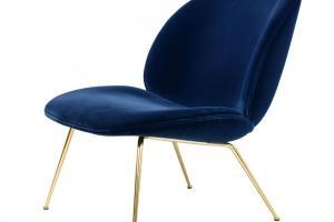 Beetle Armchair Blue Velvet Gubi