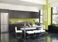 Black Ceramic Floor Modern Kitchen Ideas Using Two
