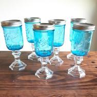 Blue Ball Mason Jar Wine Glasses Redneck