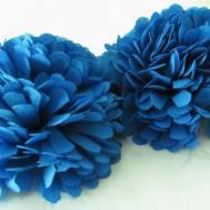 Blue Fabric Flower Hair Pom