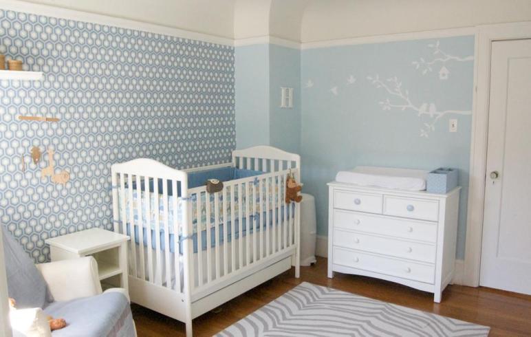 Blue Nursery Boy Four Walls Roof