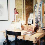 Bohemian Eclectic Rustic Vintage Work Space Home Office