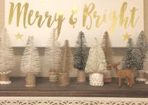 Bottle Brush Tree Christmas Village Vintage Wooden