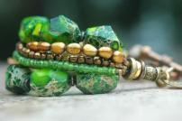 Bracelet Green Bronze Gold Multi Strand Exotic