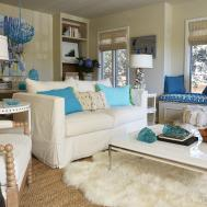 Brown Beige Turquoise Living Room Ideas