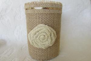 Burlap Wedding Guest Sign Pen Pencil Holder Organizer