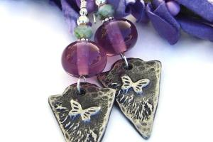 Butterfly Arrowhead Earrings Purple Amethyst Lampwork