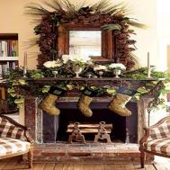 Cabin Bedroom Decorating Ideas Rustic Christmas Mantel