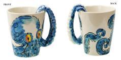Ceramic Octopus Coffee Mug Tentacle Handle Cool