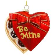 Chocolates Heart Shaped Box Inch Glass Ornament