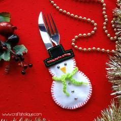 Christmas Craft Ideas Make Snowman Cutlery Holder