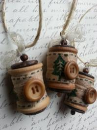 Christmas Ornament Vintage Wooden Spools Tree