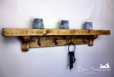 Chunky Rustic Wooden Coat Rack Shelf Shelves Stand