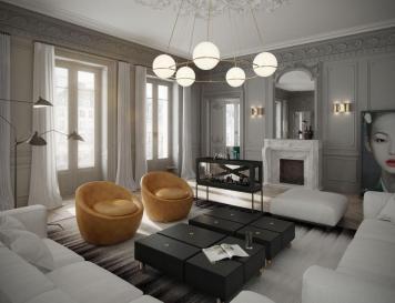 Classic Parisian Apartment Has Fish Tank Bar