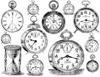 Clocks Collage Sheet Digital Scrapbook Scrapbooking