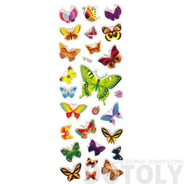 Colorful Butterfly Shaped Insect Themed Stickers