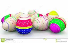 Colorful Modern Painted Easter Eggs Stock