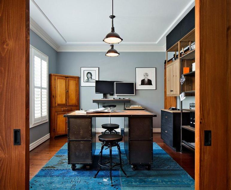 Colorful Ways Enliven Your Gray Home Office