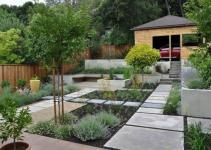 Concrete Walkway Modern Front Yard Landscape Ideas